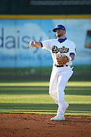 Sam McWilliams (3) of the Rancho Cucamonga Quakes throws during a game against the Stockton Ports at LoanMart Field on May 26, 2021 in Rancho Cucamonga, California. (Larry Goren/Four Seam Images)