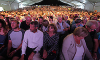 Pictured: The audience in Tata tent for the Ruby Wax event Monday 30 May 2016<br /> Re: Hay Festival, Hay on Wye, Wales, UK