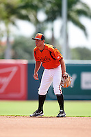 GCL Orioles second baseman Garrett Copeland (15) during a game against the GCL Twins on August 11, 2016 at the Ed Smith Stadium in Sarasota, Florida.  GCL Twins defeated GCL Orioles 4-3.  (Mike Janes/Four Seam Images)