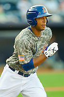 Desmond Jennings #16 of the Durham Bulls hustles down the first base line against the Lehigh Valley IronPigs at Durham Bulls Athletic Park June 26, 2010, in Durham, North Carolina.  Photo by Brian Westerholt / Four Seam Images