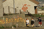 "The Troubles, 1980s Belfast suburb IRA graffiti  ""Hell Block Must Go Now"" ie H Block 1981"