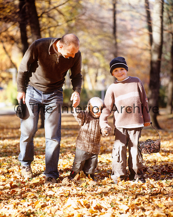 Portrait of a father and his sons walking on a carpet of golden autumnal leaves
