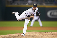 Charlotte Knights relief pitcher Matt Foster (22) delivers a pitch to the plate against the Scranton/Wilkes-Barre RailRiders at BB&T BallPark on August 13, 2019 in Charlotte, North Carolina. The Knights defeated the RailRiders 15-1. (Brian Westerholt/Four Seam Images)