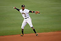 Bradenton Marauders shortstop Alfredo Reyes (13) throws to first base during the second game of a doubleheader against the Tampa Yankees on June 14, 2017 at LECOM Park in Bradenton, Florida.  Tampa defeated Bradenton 5-1.  (Mike Janes/Four Seam Images)