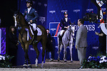 OMAHA, NEBRASKA - APR 2: Sergio Alvarez Moya (left) and Martin Fuchs (right) enter the ring for the awards ceremony for the Longines FEI World Cup Jumping Final at the CenturyLink Center on April 2, 2017 in Omaha, Nebraska. (Photo by Taylor Pence/Eclipse Sportswire/Getty Images)