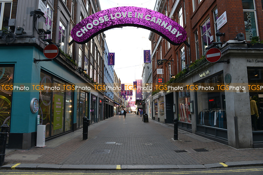 General view of a deserted Carnaby Street during the ongoing Lockdown restrictions in London on 30th December 2020