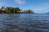 Pu'uhonua o Honaunau, an historic place of refuge and also a national historical park, seen from the ocean, south Kona, Big Island of Hawai'i.