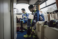 Guillaume van Keirsbulck (BEL/Wanty-Groupe Gobert) & Jérôme Baugnies (BEL/Wanty-Groupe Gobert) preparing for the race in the back of the team bus<br /> <br /> GP Le Samyn 2017 (1.1)