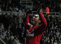 Saturday 17 November 2012<br /> Pictured: Jonathan de Guzman of Swansea celebrating his goal.<br /> Re: Barclay's Premier League, Newcastle United v Swansea City FC at St James' Park, Newcastle Upon Tyne, UK.