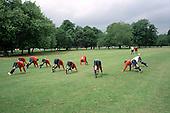 Sunday league football team training in Victoria Park, Tower Hamlets, London