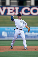 Detroit Tigers third baseman Spencer Torkelson (19) throws to first base during a Florida Instructional League game against the Pittsburgh Pirates on October 16, 2020 at Joker Marchant Stadium in Lakeland, Florida.  (Mike Janes/Four Seam Images)