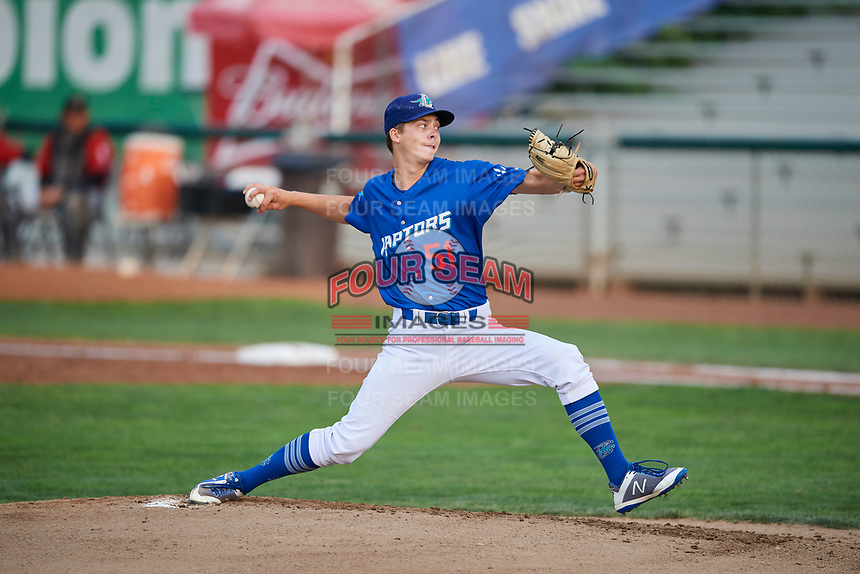 Ogden Raptors starting pitcher Caleb Sampen (51) delivers a pitch during a game against the Great Falls Voyagers at Lindquist Field on August 21, 2018 in Ogden, Utah. Great Falls defeated Ogden 14-5. (Stephen Smith/Four Seam Images)