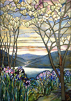 Stained glass: Magnolias and Irises - by Louis Comfort Tiffany, 1908