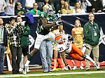 Baylor Bears wide receiver Josh Gordon (12) drops a pass as Illinois Fighting Illini cornerback Travon Bellamy (31) defends the play during the 2010 Texas  Bowl football game between the Illinois  Fighting Illini and the Baylor Bears at the Reliant Stadium in Houston, Tx. Illinois defeats Baylor 38 to 14....