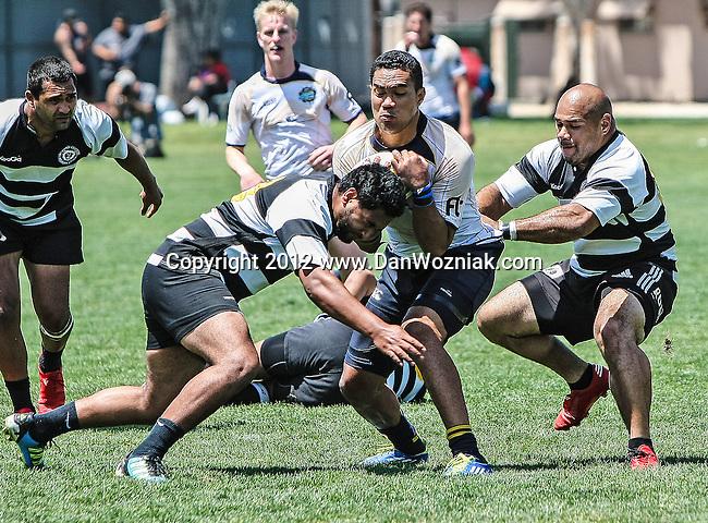 Long Beach, California, USA - April 28 : Belmont Shore vs. Sacramento Rugby action at USC - Long Beach in, Long Beach, California. .