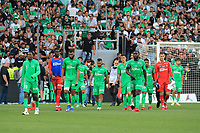 25th September 2021; Saint-Etienne Stade Geoffroy Guichard, France; AS Saint-Etienne versus OGC Nice; ASSE players in talks with their fans about the interruption