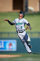Salt River Rafters second baseman Jose Devers (2), of the Miami Marlins organization, prepares to catch a pop fly during the Arizona Fall League Championship Game against the Surprise Saguaros on October 26, 2019 at Salt River Fields at Talking Stick in Scottsdale, Arizona. The Rafters defeated the Saguaros 5-1. (Zachary Lucy/Four Seam Images)