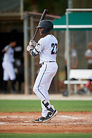 GCL Marlins Javeon Cody (27) bats during a Gulf Coast League game against the GCL Astros on August 8, 2019 at the Roger Dean Chevrolet Stadium Complex in Jupiter, Florida.  GCL Astros defeated GCL Marlins 4-2.  (Mike Janes/Four Seam Images)
