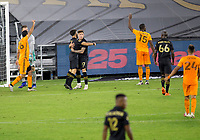 CARSON, CA - OCTOBER 28: EDiego Rossi #9 and Brian Rodriguez #17 of the Los Angeles FC celebrate a goal during a game between Houston Dynamo and Los Angeles FC at Banc of California Stadium on October 28, 2020 in Carson, California.