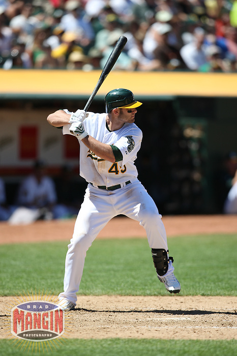OAKLAND, CA - JULY 30:  Wes Bankston of the Oakland Athletics bats during the game against the Kansas City Royals at the McAfee Coliseum in Oakland, California on July 30, 2008.  The Royals defeated the Athletics 4-3.  Photo by Brad Mangin