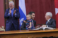 Andre Fortin is sworn in as Ministre des Transports, de la Mobilite durable et de líElectrification des transports (Minister of Transportation) of the new Liberal cabinet at the National Assembly in Quebec city October 11, 2017.<br /> <br /> PHOTO :  Francis Vachon - Agence Quebec Presse