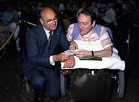 JUne 1985 File Photo - Jean DeGrandpre, CEO, BCE (L) and Claude Brunet, Founder and President, Conseil pour la Protection des Malades attend '' La Fete des Malades''' 1985 edition