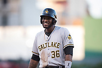 Salt Lake Bees designated hitter Jabari Blash (36) during a Pacific Coast League game against the Fresno Grizzlies at Chukchansi Park on May 14, 2018 in Fresno, California. Fresno defeated Salt Lake 4-3. (Zachary Lucy/Four Seam Images)