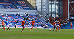 21.02.2021 Rangers v Dundee Utd: Pigeons flock around the players at Ibrox