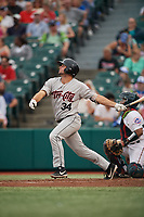 Tri-City ValleyCats Matthew Barefoot (34) at bat during a NY-Penn League game against the Brooklyn Cyclones on August 17, 2019 at MCU Park in Brooklyn, New York.  The game was postponed due to inclement weather, Brooklyn defeated Tri-City 2-1 in the continuation of the game on August 18th.  (Mike Janes/Four Seam Images)