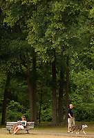 A woman reads her book on a bench at Freedom Park in the Myers Park neighborhood in Charlotte, NC. Myers Park is one of the premier neighborhoods in North America and known for its large canopy of trees.
