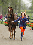 LEXINGTON, KY - APRIL 27: #90 Arthur, and rider Allison Springer jog before the vets and grand jury during the first horse inspection for the Rolex Three Day Event on Wednesday April 27, 2016 in Lexington, Kentucky. (Photo by Candice Chavez/Eclipse Sportswire/Getty Images)