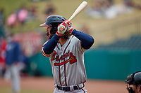 Brett Langhorne (23) of the Rome Braves at bat against the Greensboro Grasshoppers at First National Bank Field on May 16, 2021 in Greensboro, North Carolina. (Brian Westerholt/Four Seam Images)