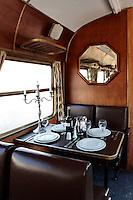 vintage dining set on train wagon