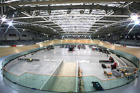 A general view of the velodrome at the BikeNZ Elite & U19 Track National Championships, Avantidrome, Home of Cycling, Cambridge, New Zealand, Thursday, March 13, 2014. Credit: Dianne Manson