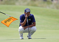 16th July 2021; Royal St Georges Golf Club, Sandwich, Kent, England; The Open Championship Tour Golf, Day Two; Sebastian Munoz (COL) studies the line of his putt on the 12th green