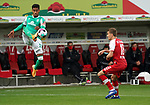 17.10.2020, Schwarzwald Stadion, Freiburg, GER, 1.FBL, SC Freiburg vs SV Werder Bremen<br /> <br /> im Bild / picture shows<br /> Theodor Gebre Selassie (Bremen), Nils Petersen (Freiburg)<br /> <br /> Foto © nordphoto / Bratic<br /> <br /> DFL REGULATIONS PROHIBIT ANY USE OF PHOTOGRAPHS AS IMAGE SEQUENCES AND/OR QUASI-VIDEO.