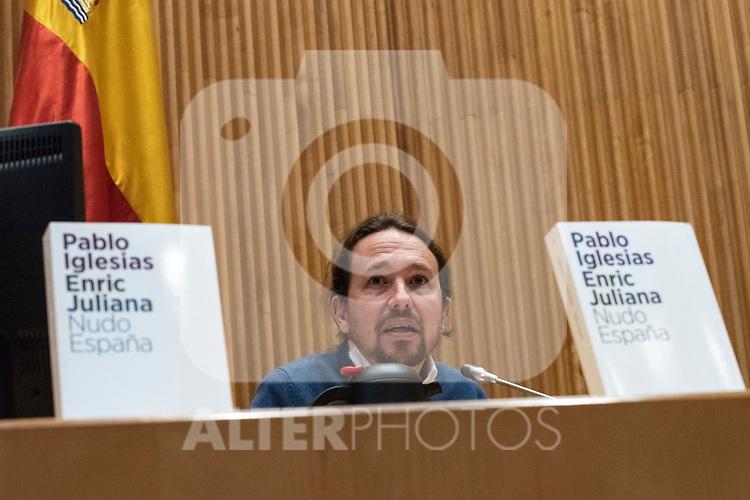 Pablo Iglesias, secretary general of Podemos, and journalist Enric Juliana participate in the dialogue 'Nudo España: a year later'<br /> December  5, 2019. <br /> (ALTERPHOTOS/David Jar)
