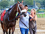 Third race from Saratoga Race Course on Travers Day, Aug. 26, 2017.  Paradise Island (no. 7) was moved up to the first position following a disqualification.