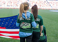 HARRISON, NJ - MARCH 08: Ball girls stand on the field during a game between Spain and USWNT at Red Bull Arena on March 08, 2020 in Harrison, New Jersey.