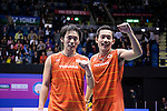 Takeshi Kamura and Keigo Sonoda of Japan celebrate after defeating Mathias Boe and Carsten Mogensen of Denmark during their Men's Doubles Final of YONEX-SUNRISE Hong Kong Open Badminton Championships 2016 at the Hong Kong Coliseum on 27 November 2016 in Hong Kong, China. Photo by Marcio Rodrigo Machado / Power Sport Images