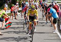 11th July 2021, Ceret, Pyrénées-Orientales, France; Tour de France cycling tour, stage 15, Ceret to  Andorre-La-Vieille;   POGACAR Tadej (SLO) of UAE TEAM EMIRATES, VINGEGAARD Jonas (DEN) of JUMBO - VISMA, URAN Rigoberto (COL) of EF EDUCATION - NIPPO during stage 15 of the 108th edition of the 2021 Tour de France cycling race, a stage of 191,3 kms between Ceret and Andorre-La-Vieille.