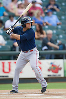 Oklahoma City RedHawks second baseman Jose Martinez (15) at bat against the Round Rock Express during the Pacific Coast League baseball game on August 25, 2013 at the Dell Diamond in Round Rock, Texas. Round Rock defeated Oklahoma City 9-2. (Andrew Woolley/Four Seam Images)