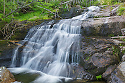 Salmacis Fall on Snyder Brook in Low and Burbank's Grant, New Hampshire during the summer months. This waterfall is located along the Brookside Trail.