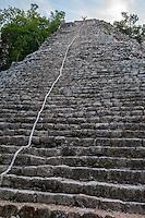 Nohoch Mul, the main pyramid at the Coba Ruins, near Playa del Carmen, Yucatan, Mexico.  Climber waving from the top.