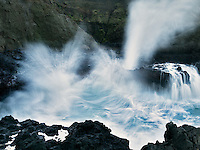 Crashing waves and blow hole. Cooks Chasm, Cape Perpetua. Oregon