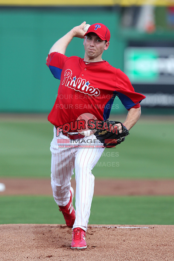 Philadelphia Phillies pitcher Austin Hyatt #78 delivers a pitch during a scrimmage against the Florida State Seminoles at Brighthouse Field on February 29, 2012 in Clearwater, Florida.  Philadelphia defeated Florida State 6-1.  (Mike Janes/Four Seam Images)