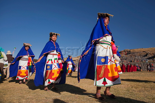 Scene from the Inti Raymi Festival at Saqsaywaman with the performers in the foreground, Cuzco, Peru, South America.