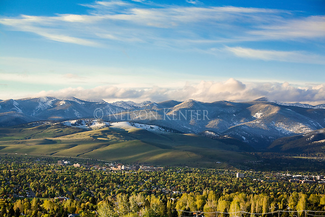 The Missoula, Montana valley and the north hills with fresh snow in the higher elevations
