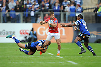 Henry Trinder of Gloucester Rugby is tackled by Jamie Roberts as Semesa Rokoduguni of Bath Rugby supports during the Gallagher Premiership Rugby match between Bath Rugby and Gloucester Rugby at The Recreation Ground on Saturday 8th September 2018 (Photo by Rob Munro/Stewart Communications)