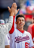 7 March 2019: Washington Nationals top infield prospect Luis Garcia returns to the dugout after scoring in the 8th inning of a Spring Training Game against the New York Mets at the Ballpark of the Palm Beaches in West Palm Beach, Florida. The Nationals defeated the visiting Mets 6-4 in Grapefruit League, pre-season play. Mandatory Credit: Ed Wolfstein Photo *** RAW (NEF) Image File Available ***